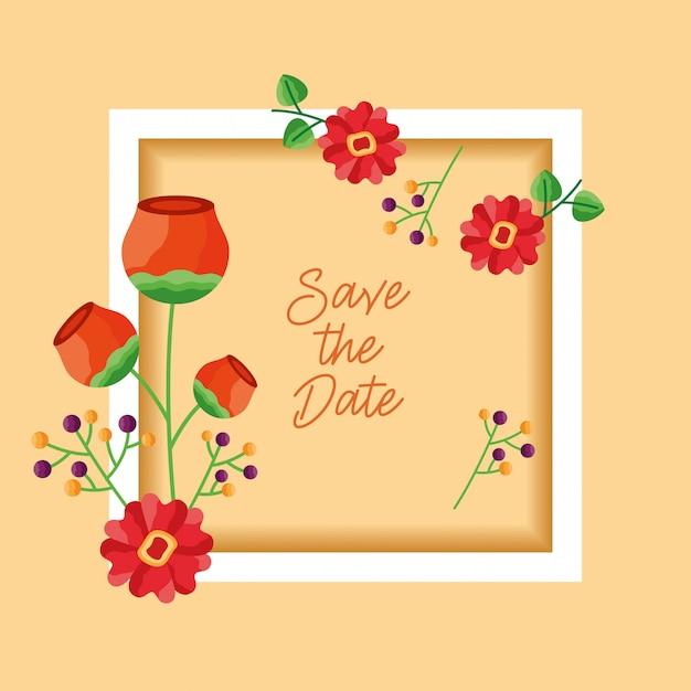結婚式は日付の花カードフレームを保存します 無料ベクター