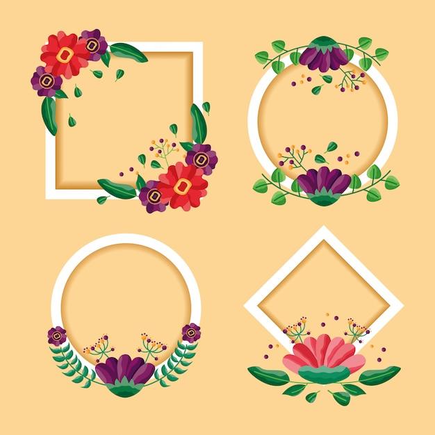 Набор красивых цветочных кадров. округлый круг и квадрат Бесплатные векторы