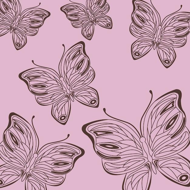 かわいい描画蝶パターン飾りピンクの背景 Premiumベクター