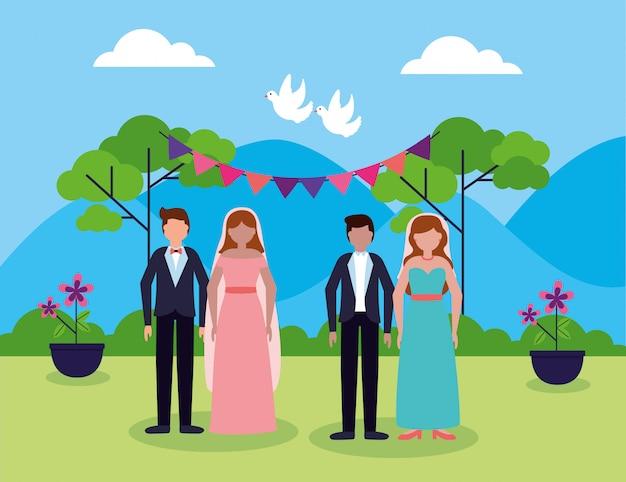 フラットスタイルの結婚式の人々 無料ベクター