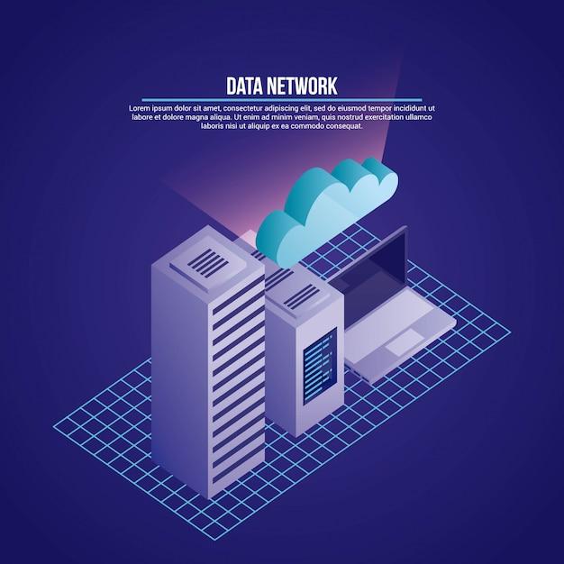 Иллюстрация сети передачи данных Бесплатные векторы