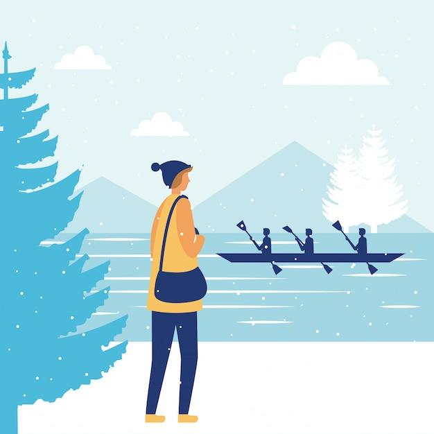 幸せな冬の人々の休暇 無料ベクター