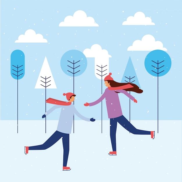 Счастливые зимние люди отдыхают Бесплатные векторы