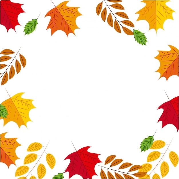 Осенняя рамка фон с листьями Бесплатные векторы