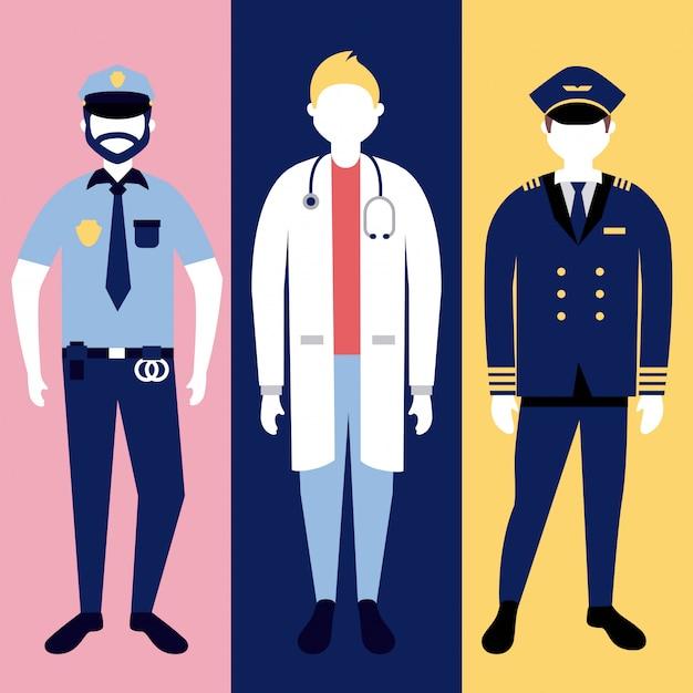 警察、医師、軍人のキャラクター 無料ベクター
