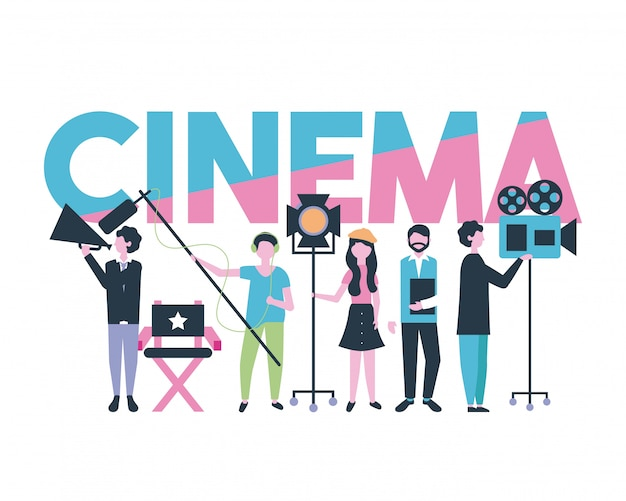 Производство кино людей Бесплатные векторы