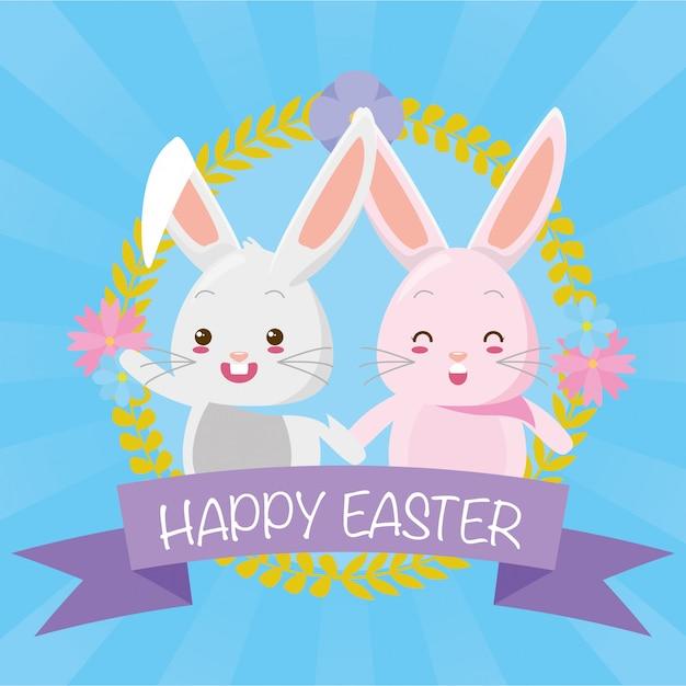 かわいいカップルのウサギ 無料ベクター