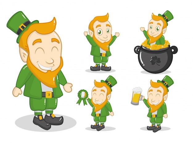 幸せな聖パトリックの日、大釜で緑のレプラコーン 無料ベクター
