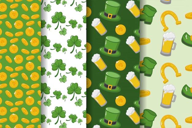 ハッピー聖パトリックの日、クローバー、ビール、帽子、コインのパターン 無料ベクター