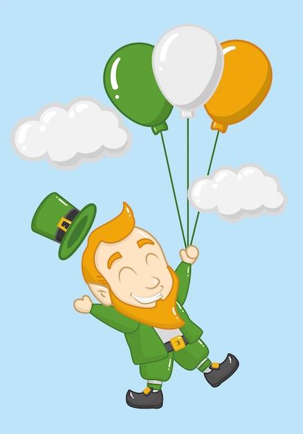 ハッピー聖パトリックの日、風船でレプラコーン 無料ベクター