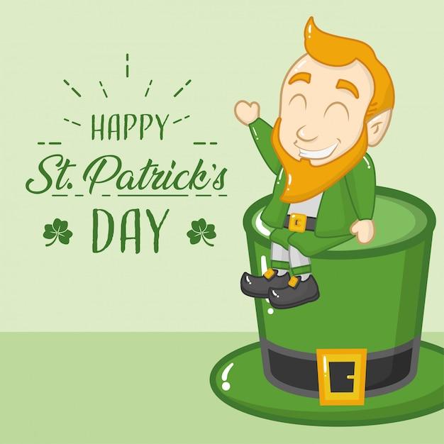 ハッピー聖パトリックの日グリーティングカード、緑の帽子のレプラコーン 無料ベクター