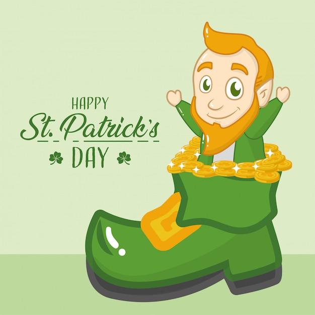 幸せな聖パトリックの日グリーティングカード、グリーンブーツから出てくるレプラコーン 無料ベクター