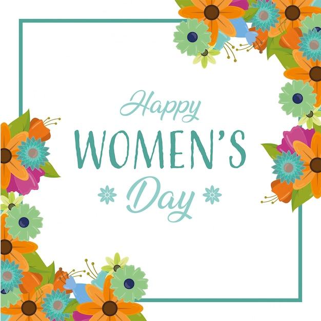 幸せな女性のグリーティングカード、花と日フレーム 無料ベクター