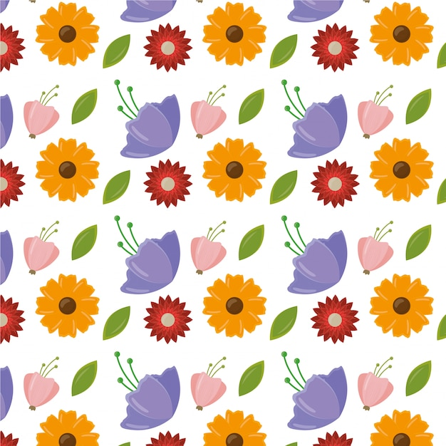 葉と花を持つ幸せな女性の日パターン 無料ベクター