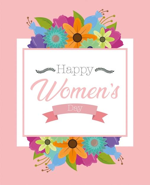 花と幸せな女性の日グリーティングカード 無料ベクター