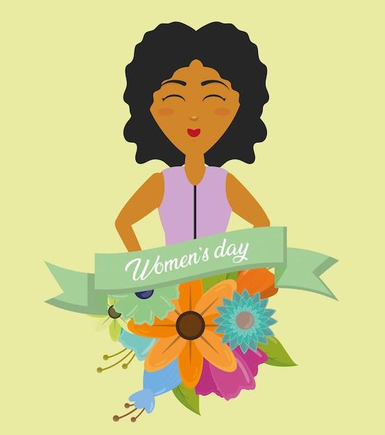 幸せな女性の日グリーティングカード、リボンと花を持つ女性 無料ベクター