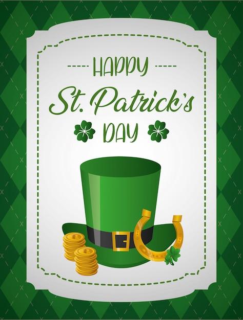 ハッピー聖パトリックの日グリーティングカード、コインと馬蹄形の緑の帽子 無料ベクター