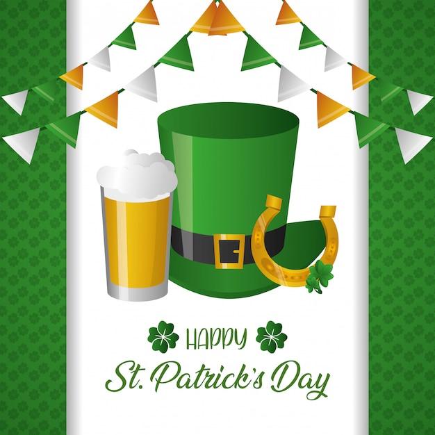 緑の帽子とビールのグリーティングカード 無料ベクター
