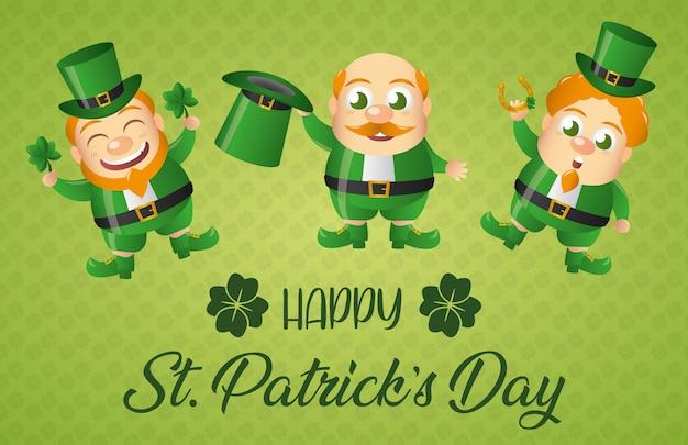 Ирландский лепрекон набор поздравительных открыток, день святого патрика Бесплатные векторы