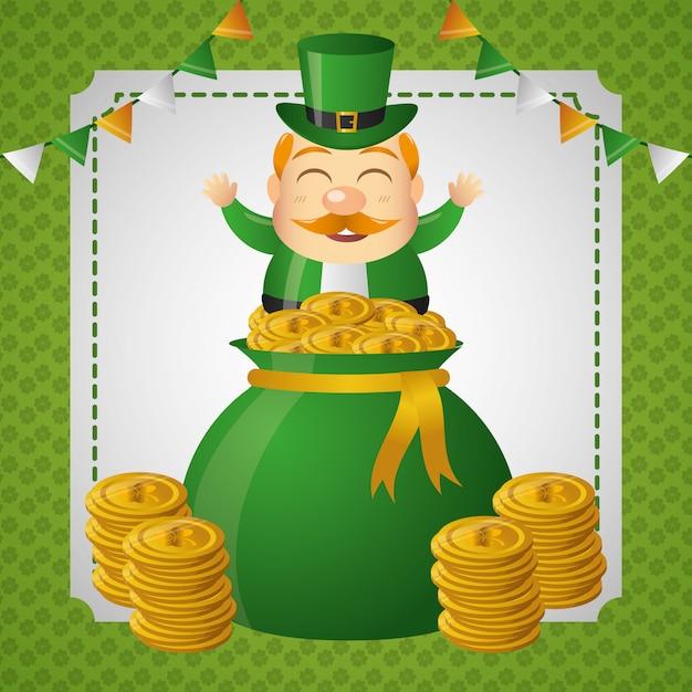 Ирландский гоблин выходит из денежного мешка с золотыми монетами. Бесплатные векторы
