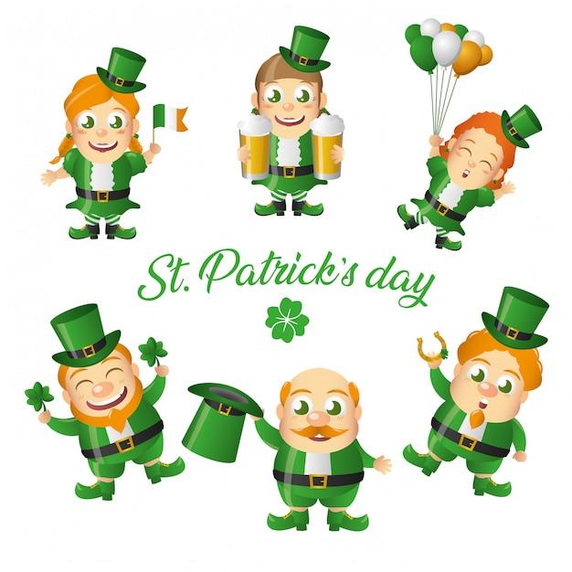 Набор поздравительных открыток из ирландского лепрекона, день святого патрика Бесплатные векторы