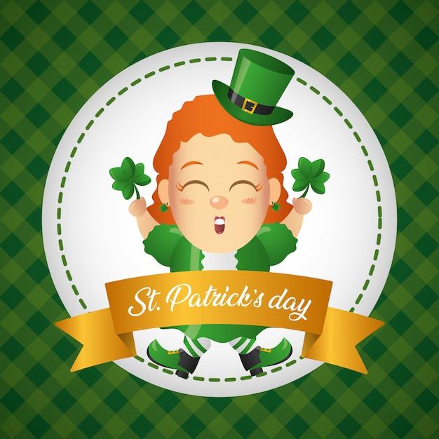 Поздравительная открытка ирландского лепрекона, день святого патрика Бесплатные векторы