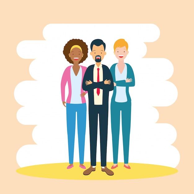 Разнообразие бизнес мужчина и женщина Бесплатные векторы