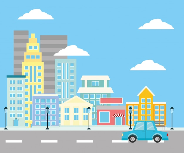 都市空間の建物通り 無料ベクター
