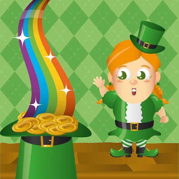 コインと虹、アイルランドのレプラコーン、聖パトリックの日 無料ベクター