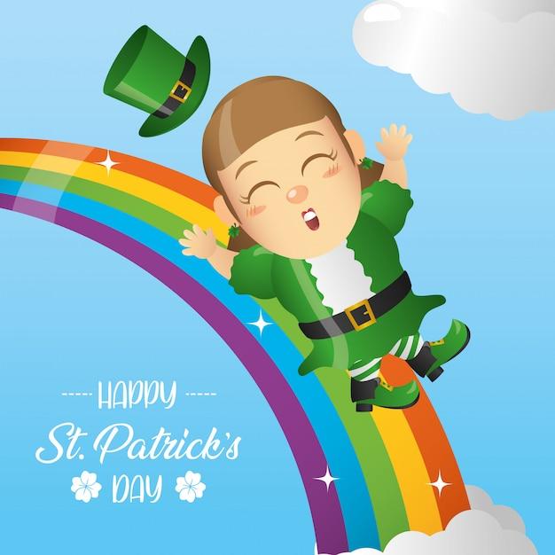 虹の上の幸せなアイルランドのレプラコーン、聖パトリックの日グリーティングカード 無料ベクター