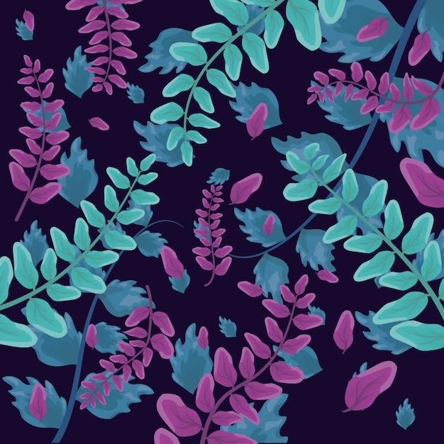 熱帯の葉のパターン 無料ベクター