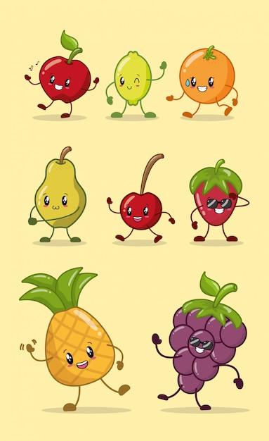 Набор счастливых цветов каваи фрукты Бесплатные векторы