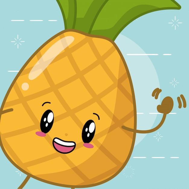 かわいいパイナップル漫画スタイル 無料ベクター