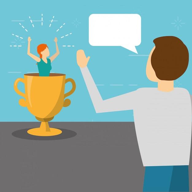Человек говорит женщина на трофей, плоский стиль Бесплатные векторы