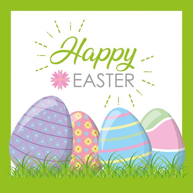 Счастливые пасхальные яйца на траве поздравительной открытки Бесплатные векторы