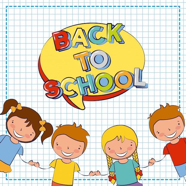 Группа счастливых детей, обратно в школу, редактируемые иллюстрации Бесплатные векторы