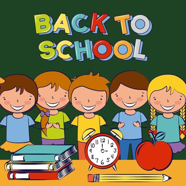Дети улыбаются в классе со школьными элементами на столе, снова в школу Бесплатные векторы