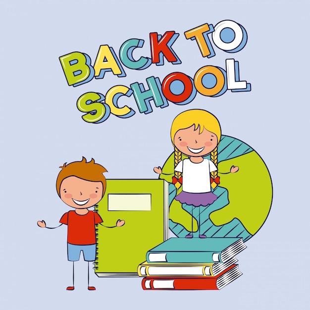 Группа счастливых детей с книгами, обратно в школу, редактируемые иллюстрации Бесплатные векторы