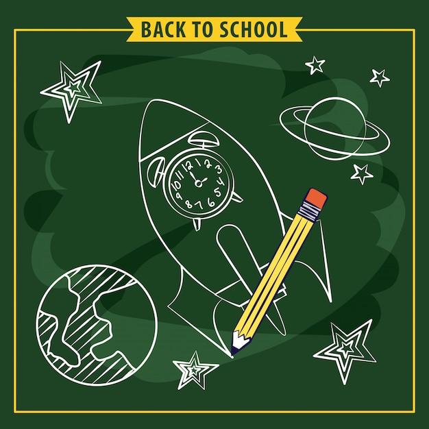 Ракета и космические элементы на доске ,, снова в школу иллюстрации Бесплатные векторы