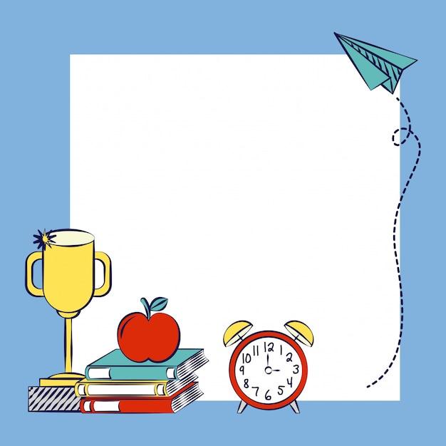 テキストまたはデザインを挿入するスペース、学校に戻るの素晴らしいリソース 無料ベクター