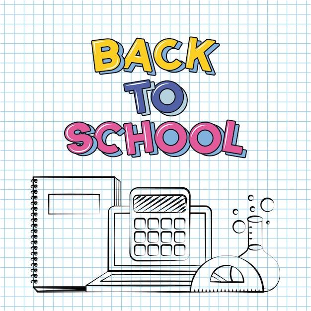 本、ノートパソコン、電卓、グリッドシートに描かれた学校の落書きに戻る 無料ベクター