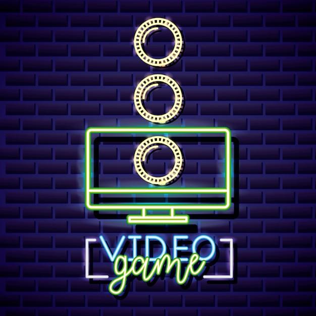 デスクトップとコイン、ビデオゲームネオン線形スタイル 無料ベクター