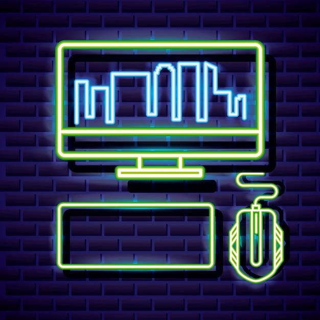 Рабочий стол с горизонтом, клавиатурой и мышью, видеоигра неоновый линейный стиль Бесплатные векторы