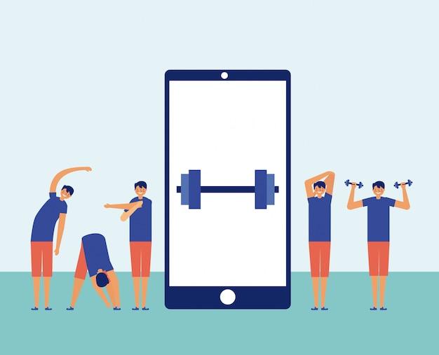 センター、オンラインフィットネスの概念でスマートフォンで運動する男性 無料ベクター