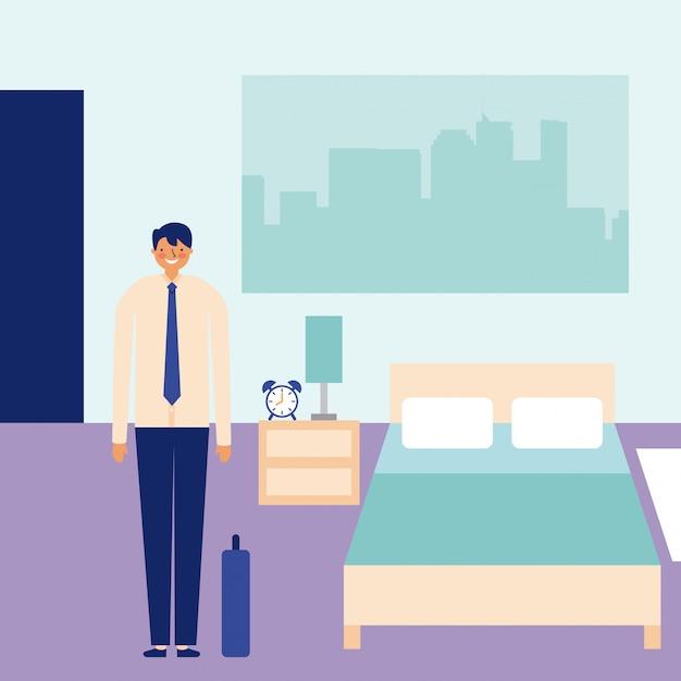 寝室での毎日の活動幸せなビジネスマン 無料ベクター