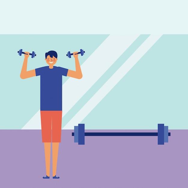 運動トレーニングを行う毎日の活動男 無料ベクター