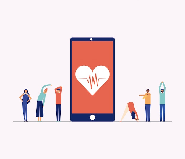 スマートフォン、オンラインフィットネスの概念の周りの運動をしている人 無料ベクター