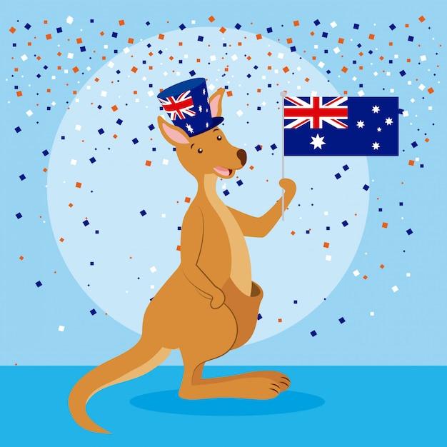 Кенгуру с флагом австралии и конфетти Бесплатные векторы