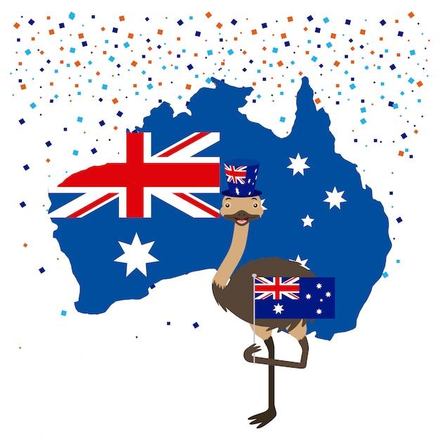 Страус с австралийским флагом и конфетти Бесплатные векторы
