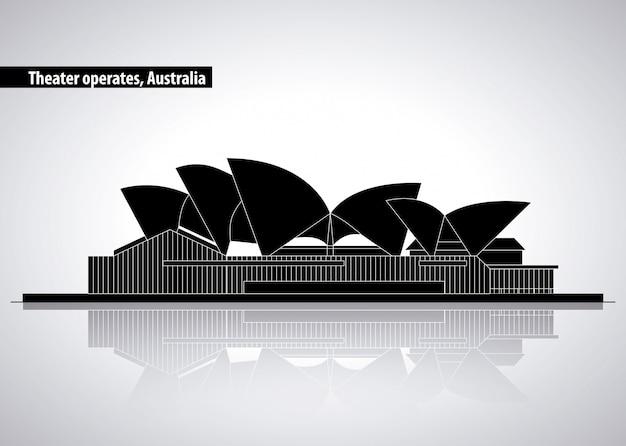 シドニーオーストラリア、シルエットイラストのオペラ劇場 無料ベクター